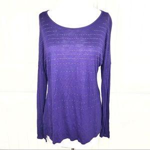 Apt 9 Purple Embellished Drop Shoulder Knit Top M